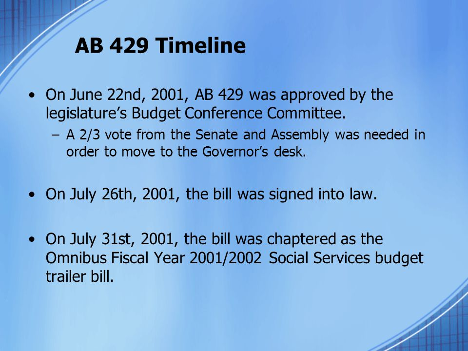 AB 429 Timeline On June 22nd, 2001, AB 429 was approved by the legislature's Budget Conference Committee.