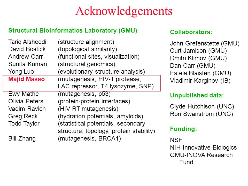 Acknowledgements Structural Bioinformatics Laboratory (GMU):