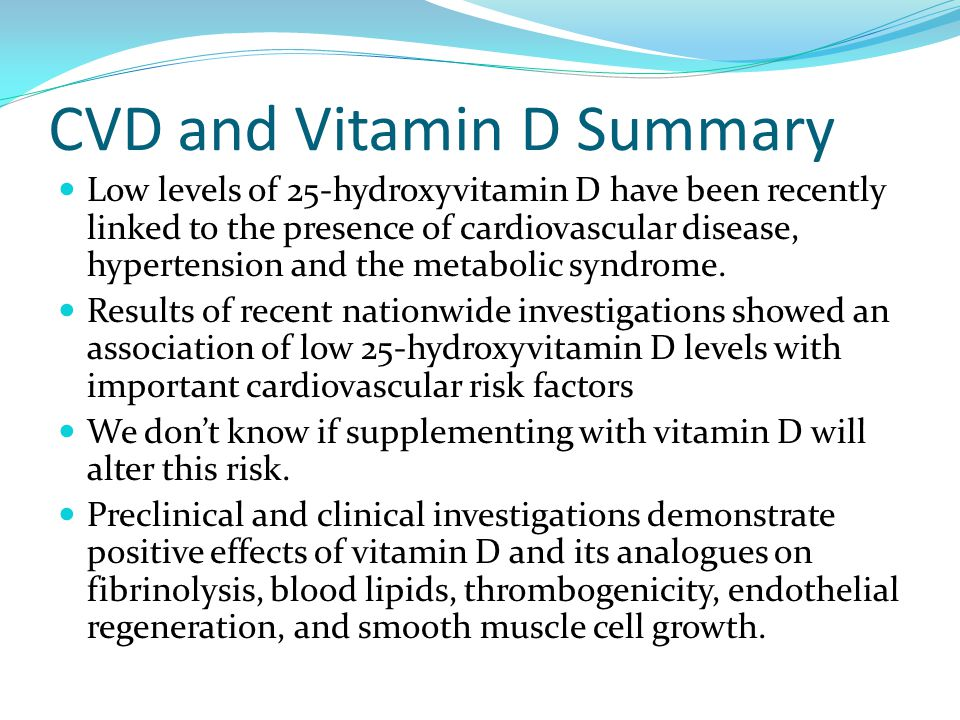 CVD and Vitamin D Summary