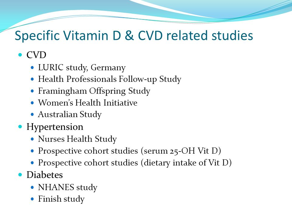 Specific Vitamin D & CVD related studies