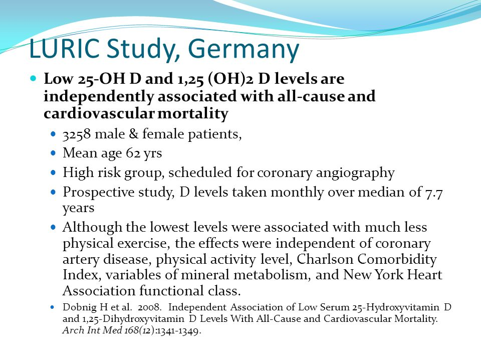 LURIC Study, Germany Low 25-OH D and 1,25 (OH)2 D levels are independently associated with all-cause and cardiovascular mortality.