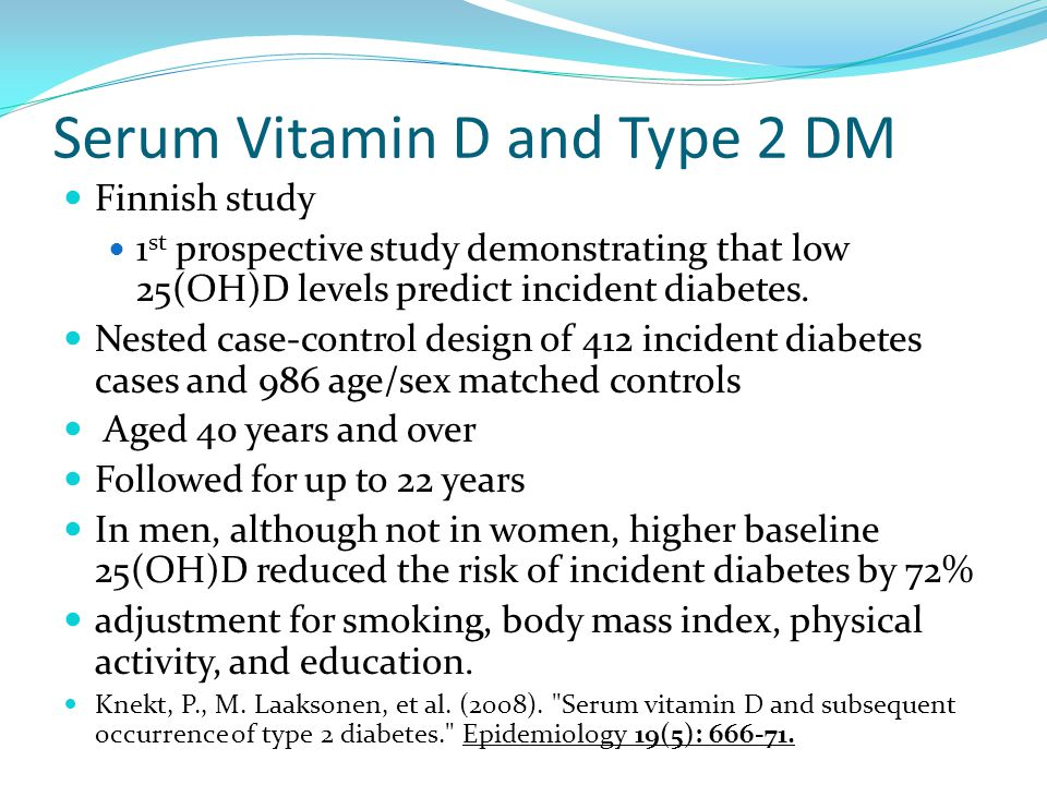 Serum Vitamin D and Type 2 DM
