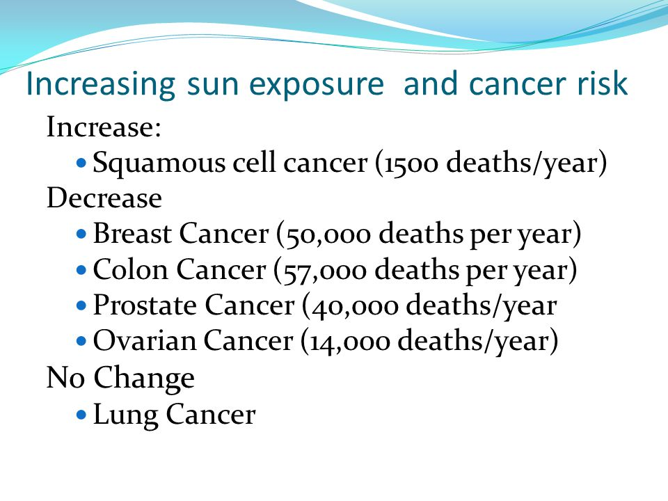 Increasing sun exposure and cancer risk