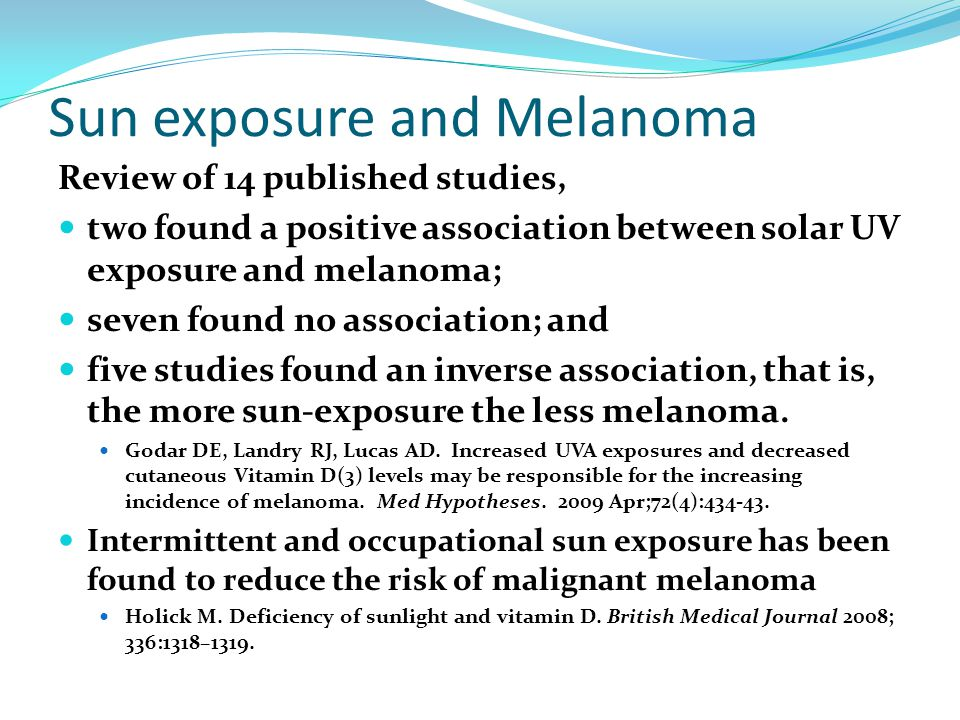 Sun exposure and Melanoma