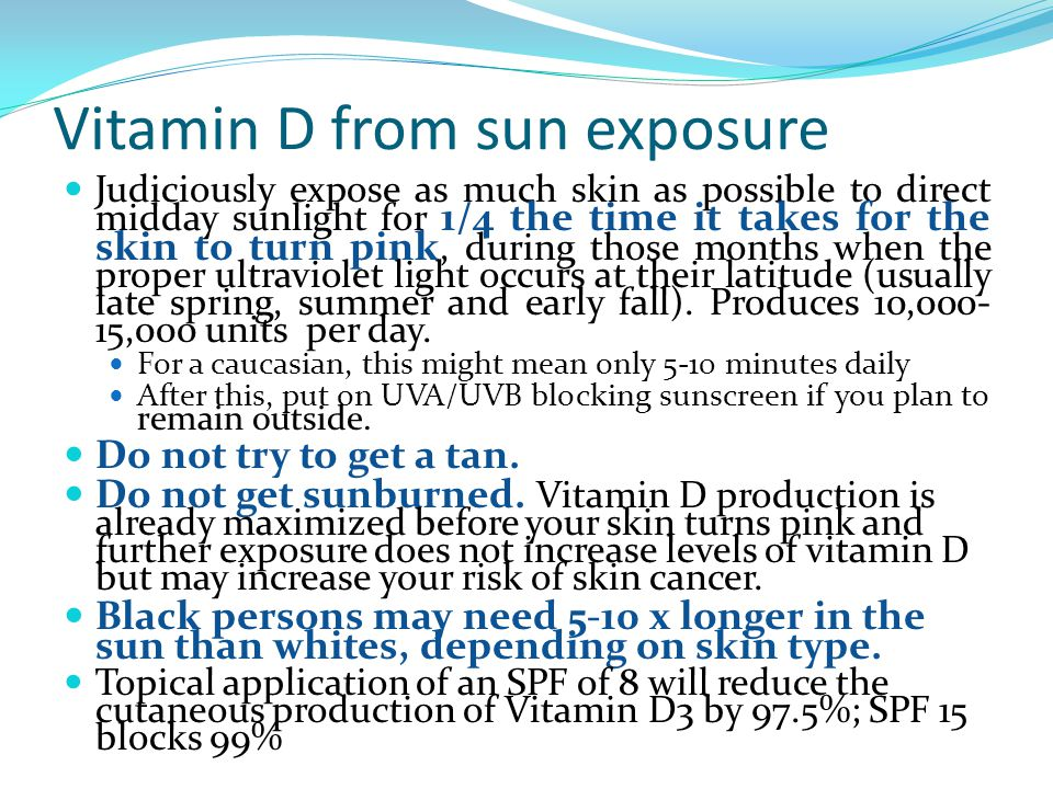 Vitamin D from sun exposure