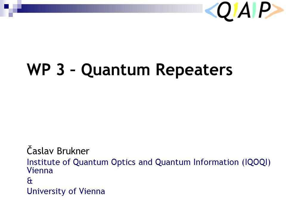 WP 3 WP 3 – Quantum Repeaters Časlav Brukner