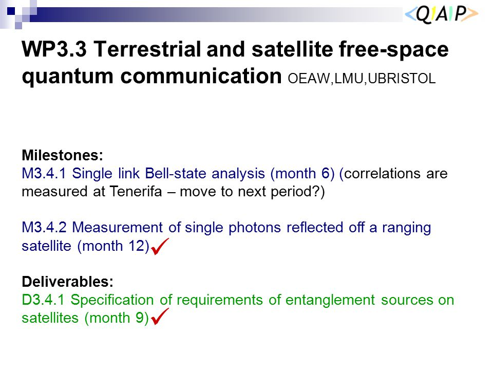 WP3.3 Terrestrial and satellite free-space quantum communication OEAW,LMU,UBRISTOL