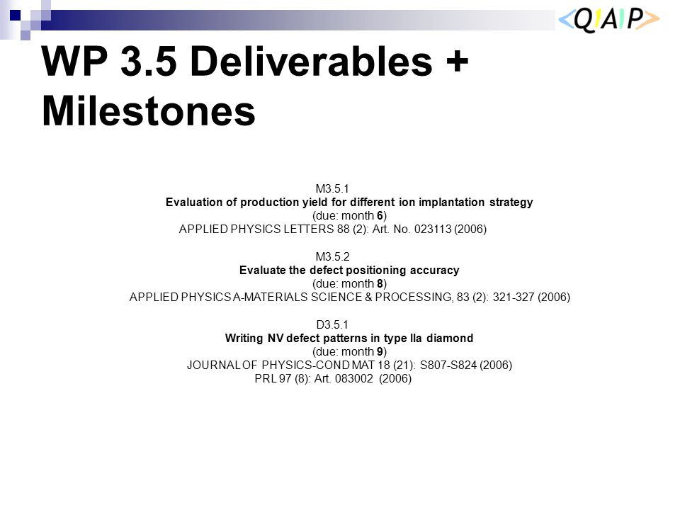 WP 3.5 Deliverables + Milestones