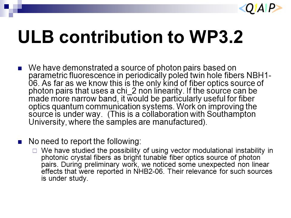 ULB contribution to WP3.2