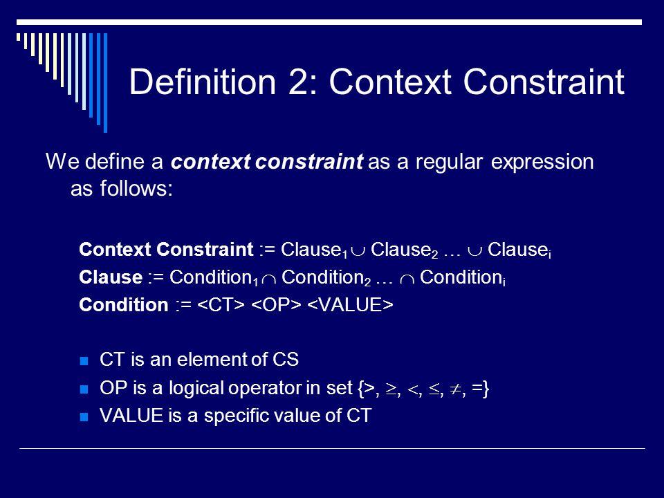 Definition 2: Context Constraint