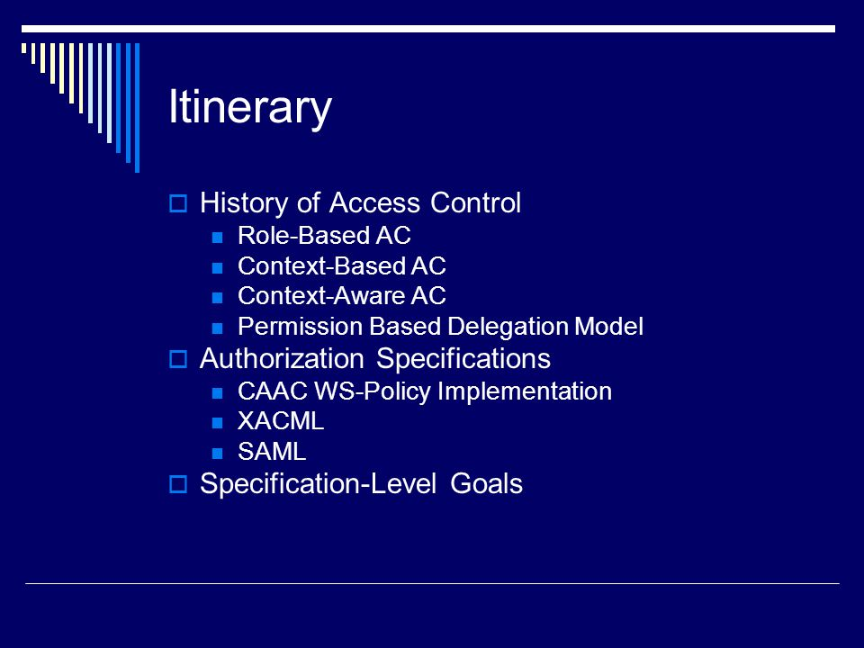 Itinerary History of Access Control Authorization Specifications