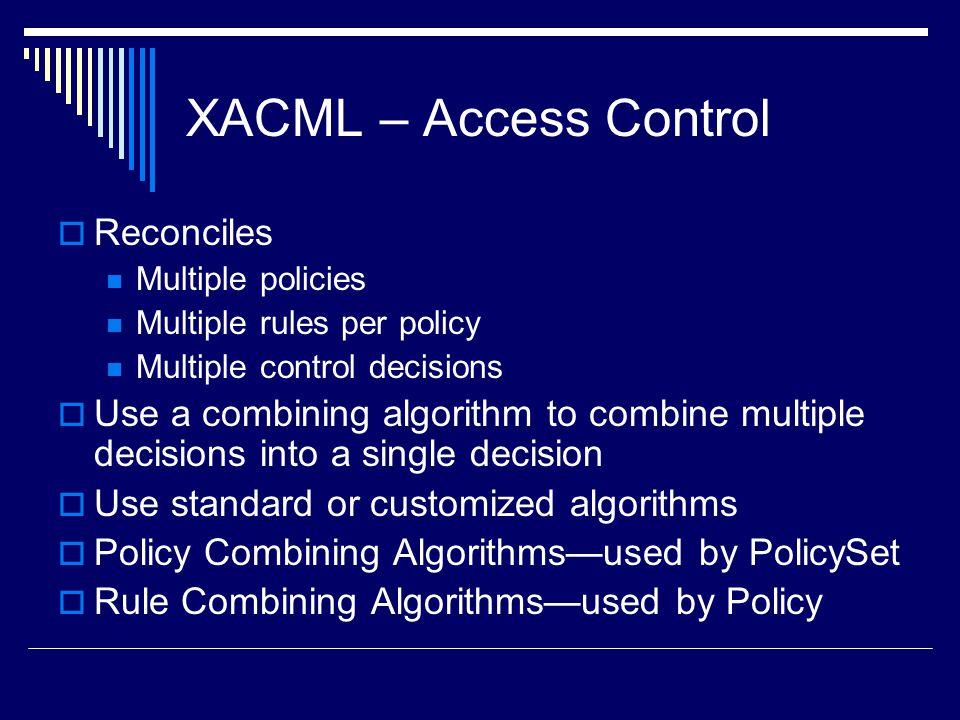 XACML – Access Control Reconciles