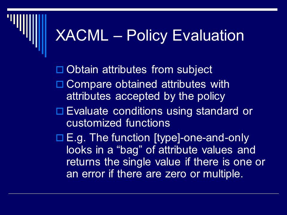 XACML – Policy Evaluation