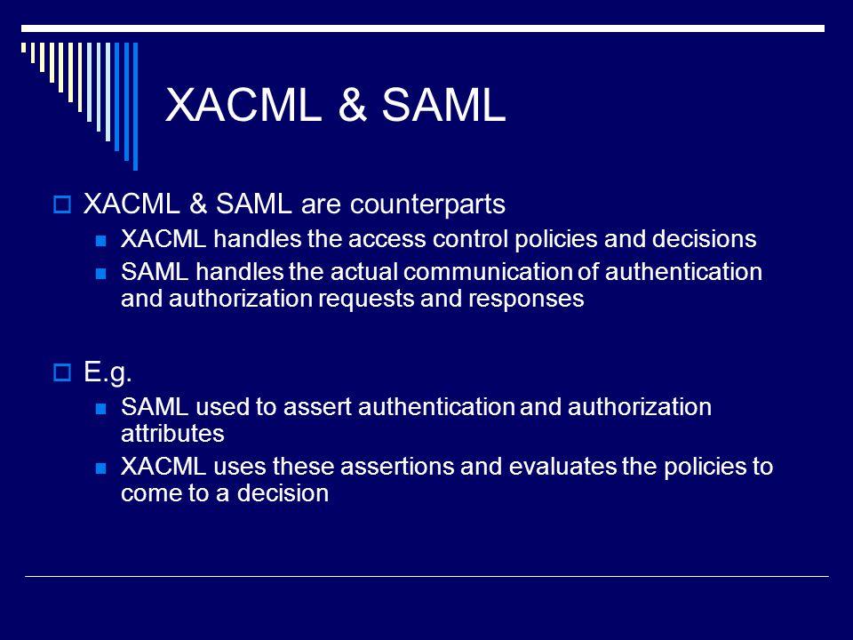 XACML & SAML XACML & SAML are counterparts E.g.