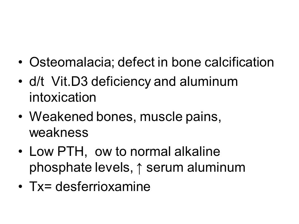 Osteomalacia; defect in bone calcification