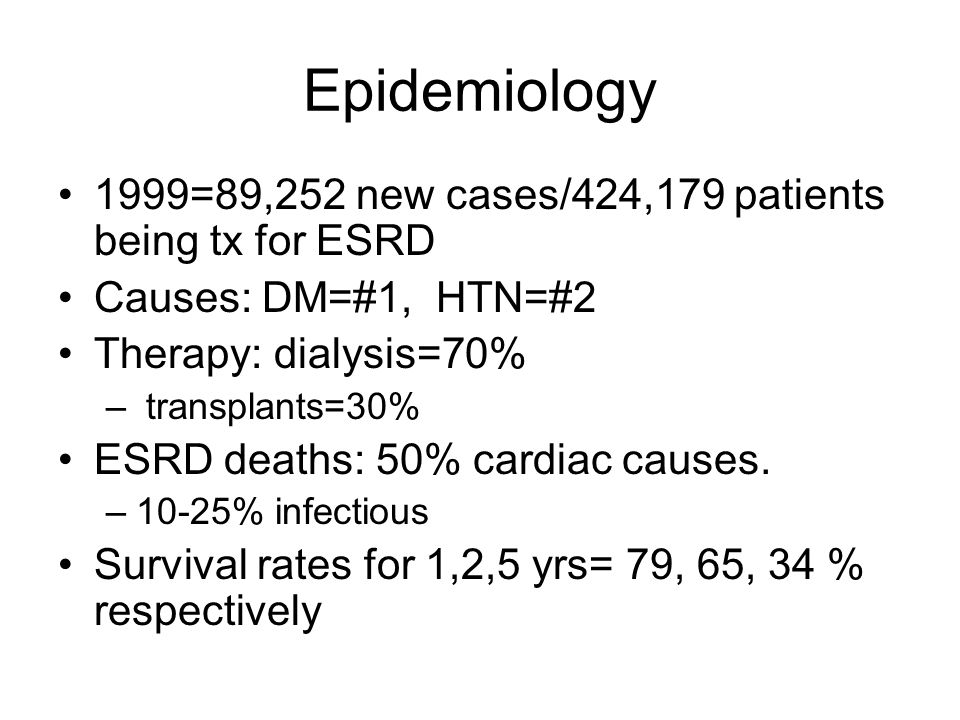 Epidemiology 1999=89,252 new cases/424,179 patients being tx for ESRD