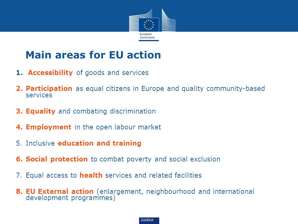 Main areas for EU action