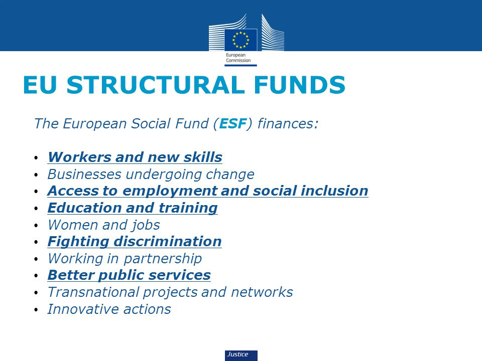 EU STRUCTURAL FUNDS The European Social Fund (ESF) finances: