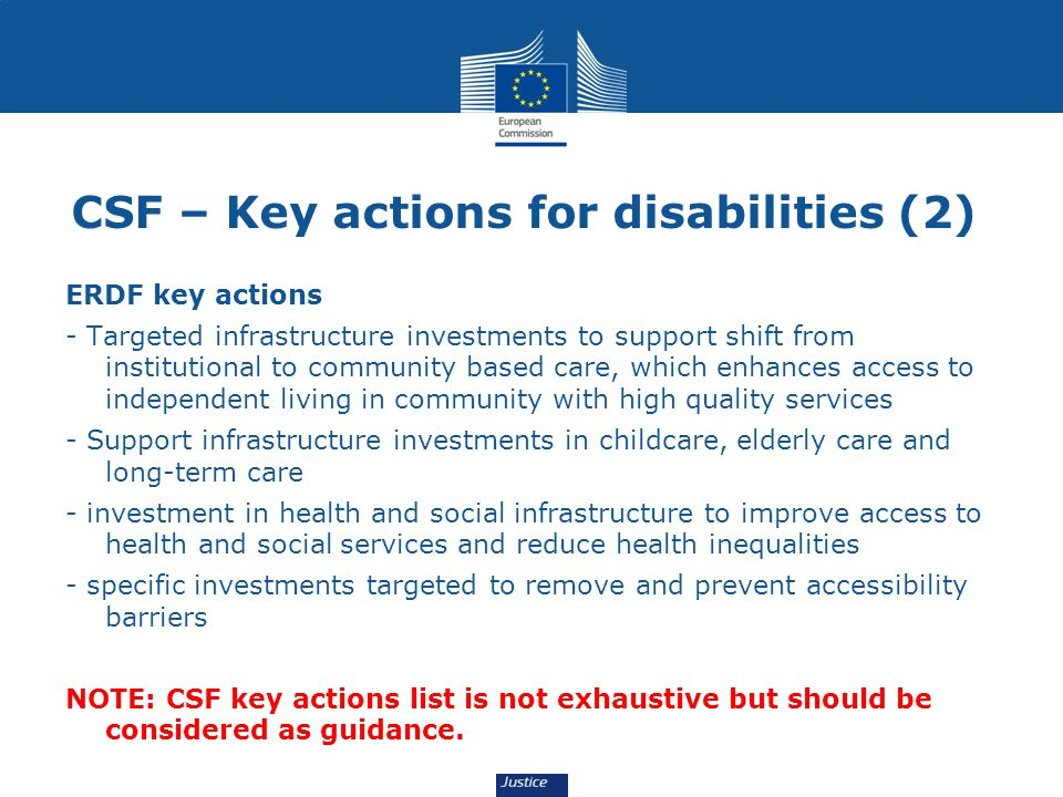 CSF – Key actions for disabilities (2)