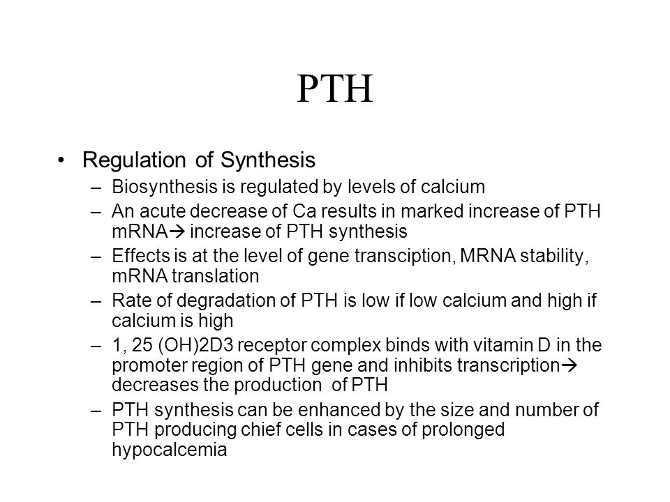 PTH Regulation of Synthesis
