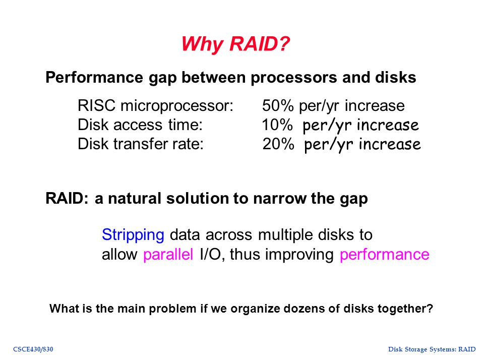 Why RAID Performance gap between processors and disks