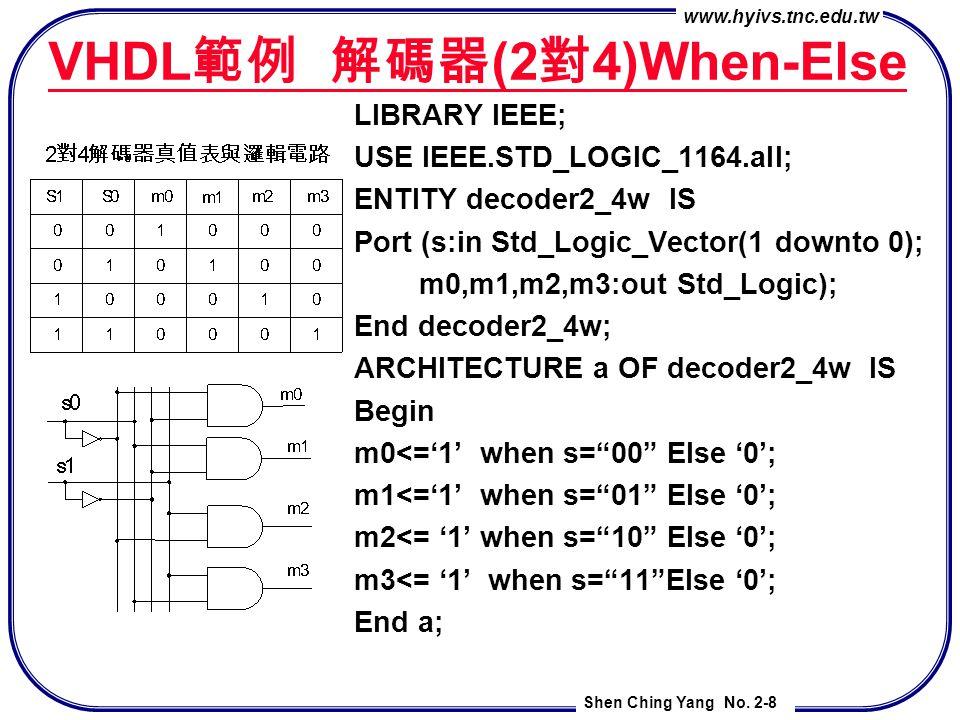 VHDL範例 解碼器(2對4)When-Else