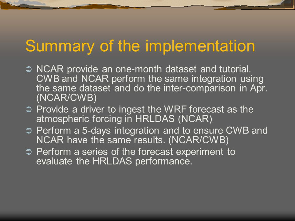 Summary of the implementation
