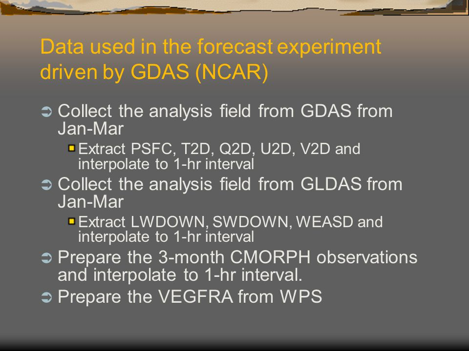 Data used in the forecast experiment driven by GDAS (NCAR)