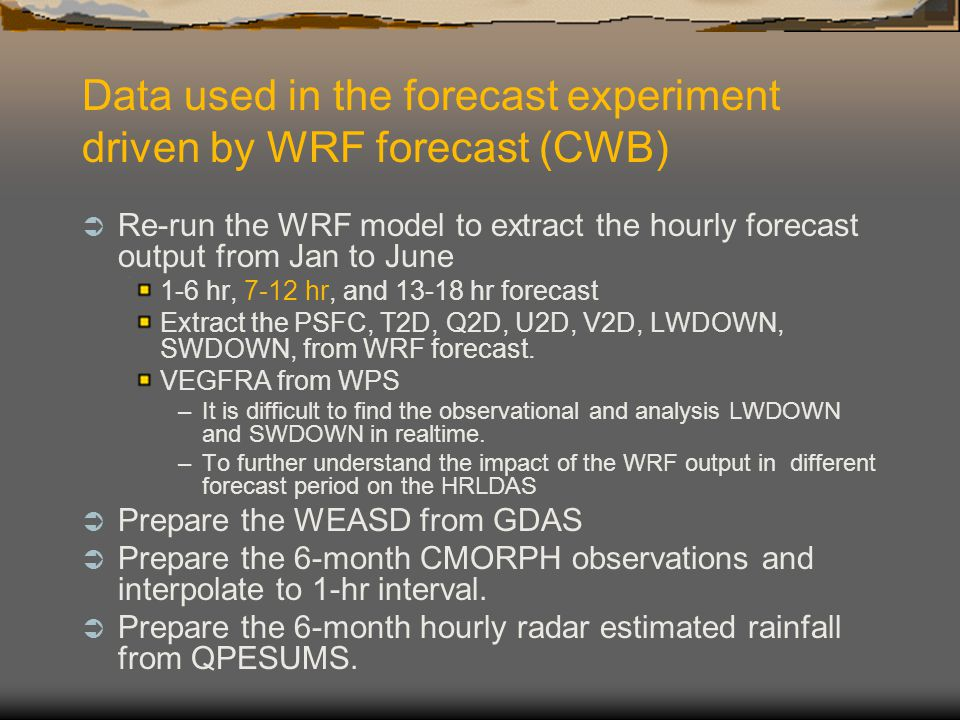 Data used in the forecast experiment driven by WRF forecast (CWB)