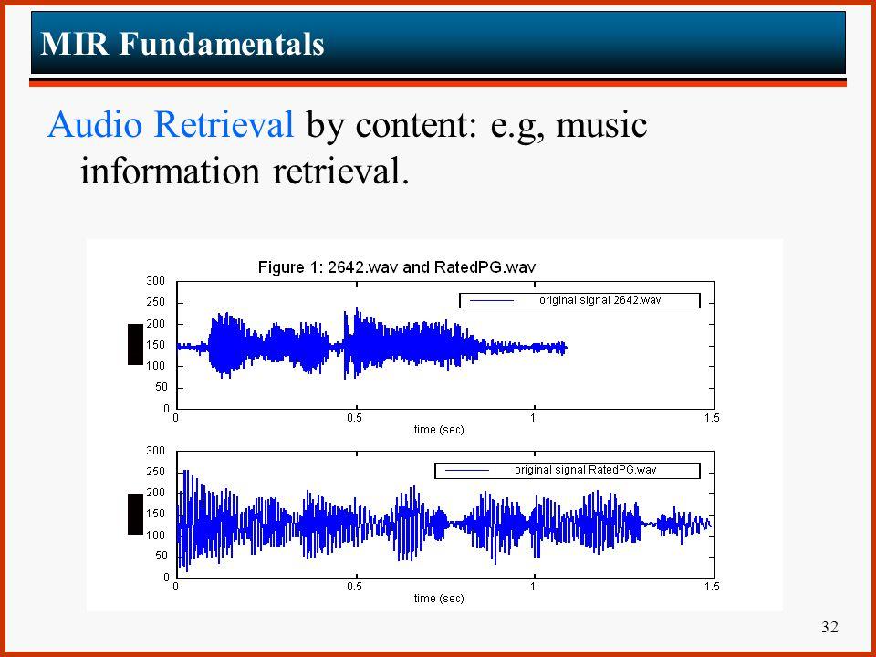 Audio Retrieval by content: e.g, music information retrieval.