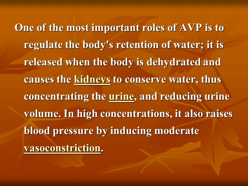 One of the most important roles of AVP is to regulate the body s retention of water; it is released when the body is dehydrated and causes the kidneys to conserve water, thus concentrating the urine, and reducing urine volume.