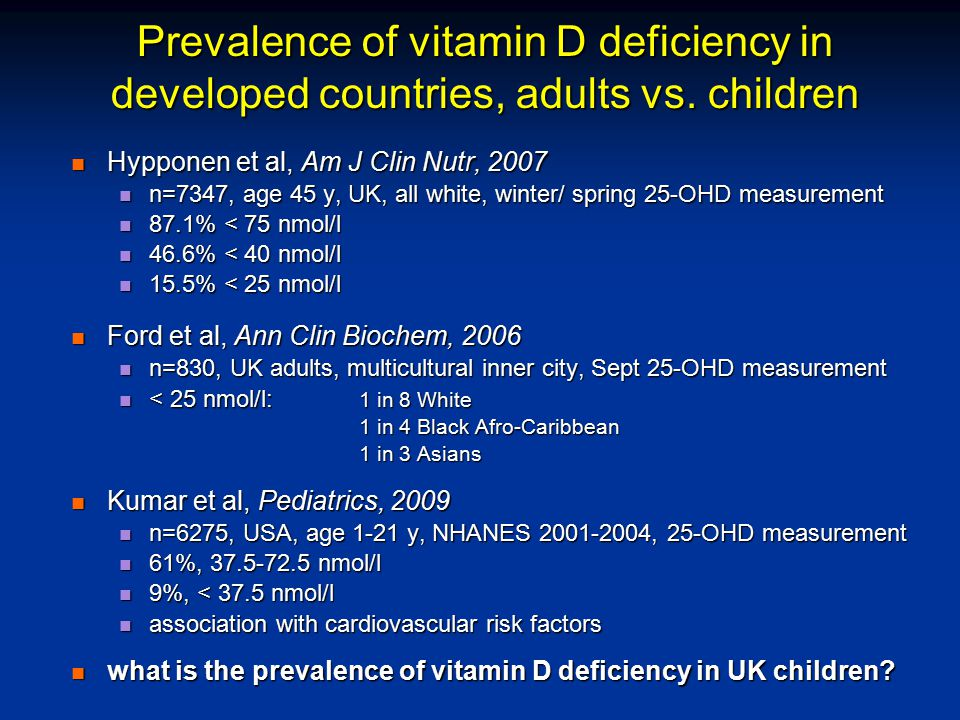 Prevalence of vitamin D deficiency in developed countries, adults vs