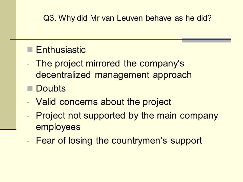 Q3. Why did Mr van Leuven behave as he did