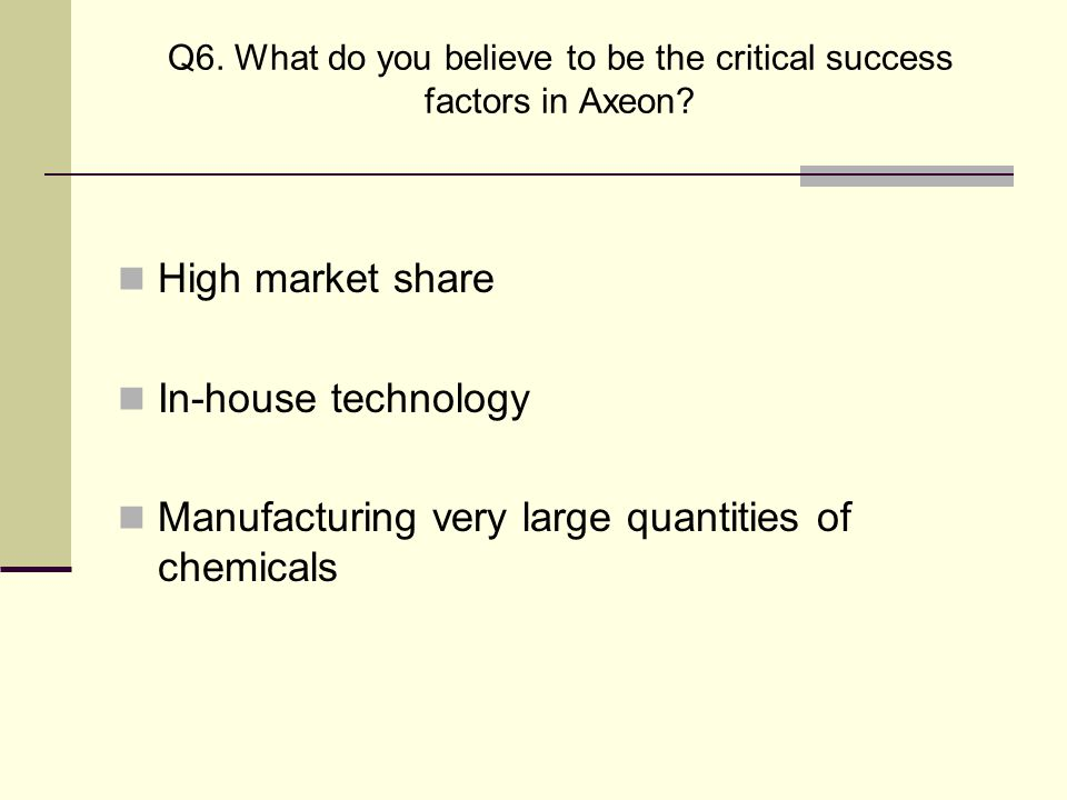 Q6. What do you believe to be the critical success factors in Axeon
