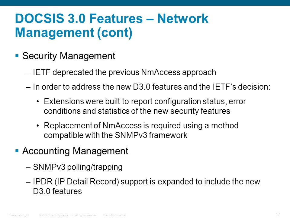 DOCSIS 3.0 Features – Network Management (cont)