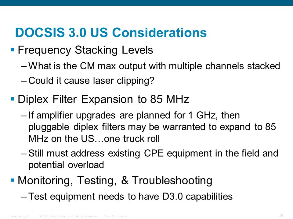 DOCSIS 3.0 US Considerations