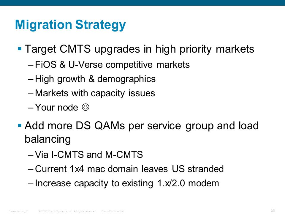 Migration Strategy Target CMTS upgrades in high priority markets