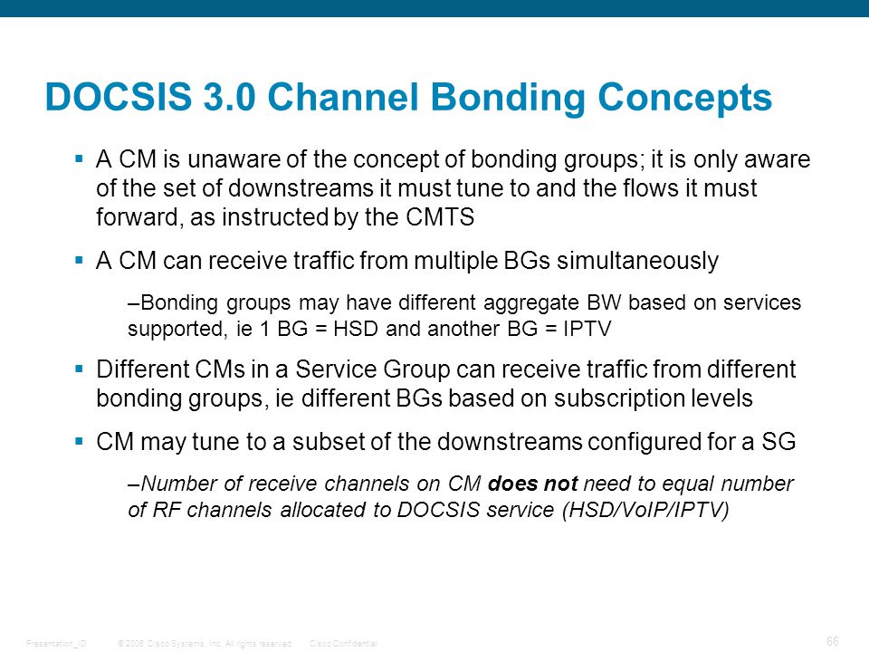 DOCSIS 3.0 Channel Bonding Concepts