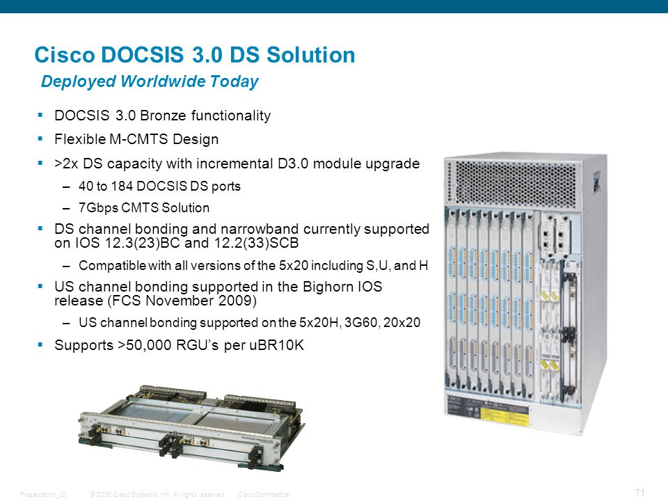 Cisco DOCSIS 3.0 DS Solution Deployed Worldwide Today