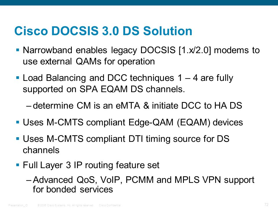 Cisco DOCSIS 3.0 DS Solution