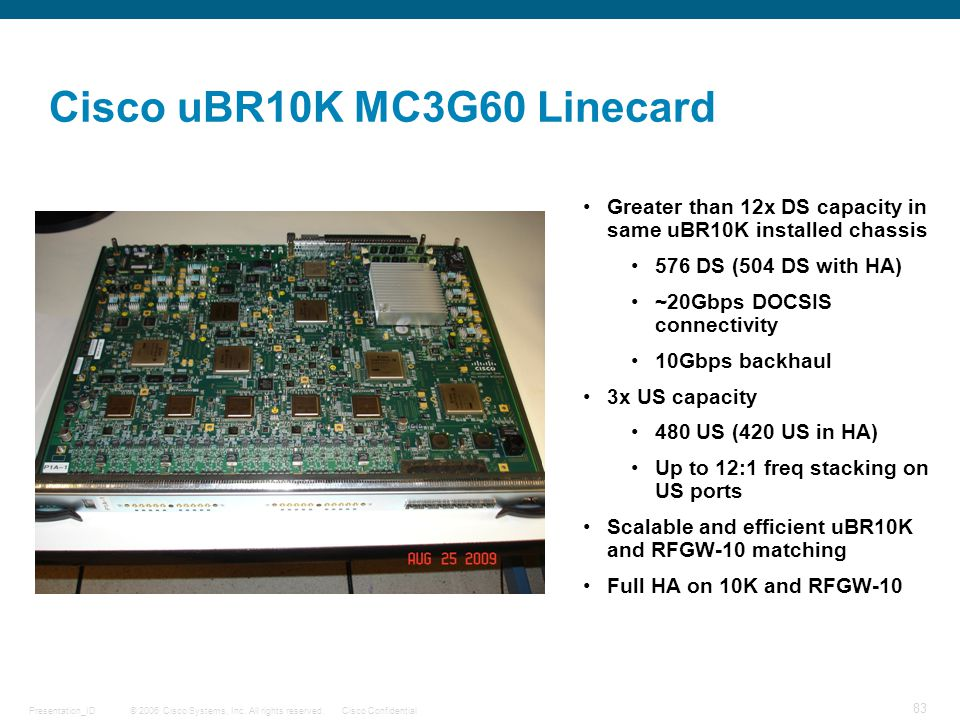 Cisco uBR10K MC3G60 Linecard