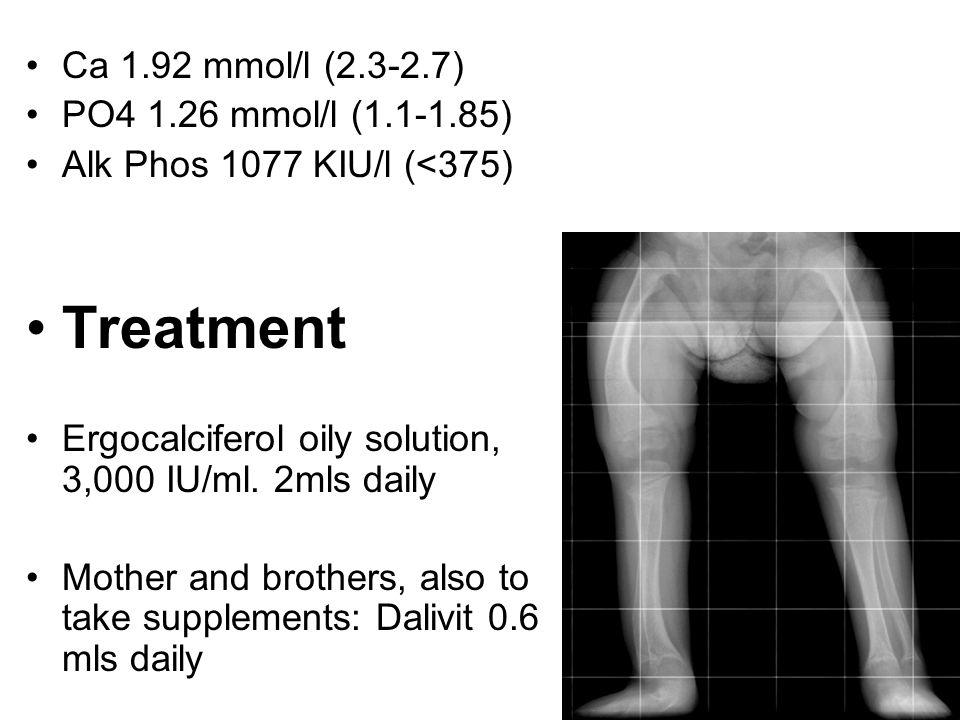 Treatment Ca 1.92 mmol/l (2.3-2.7) PO4 1.26 mmol/l (1.1-1.85)