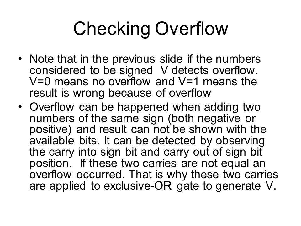 Checking Overflow