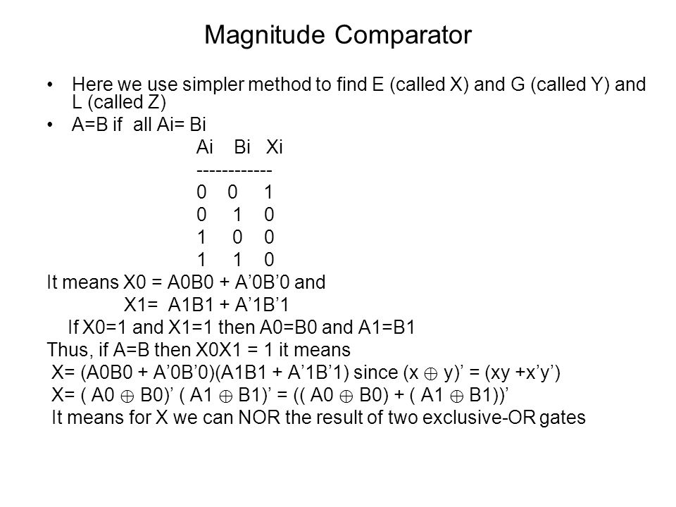 Magnitude Comparator Here we use simpler method to find E (called X) and G (called Y) and L (called Z)