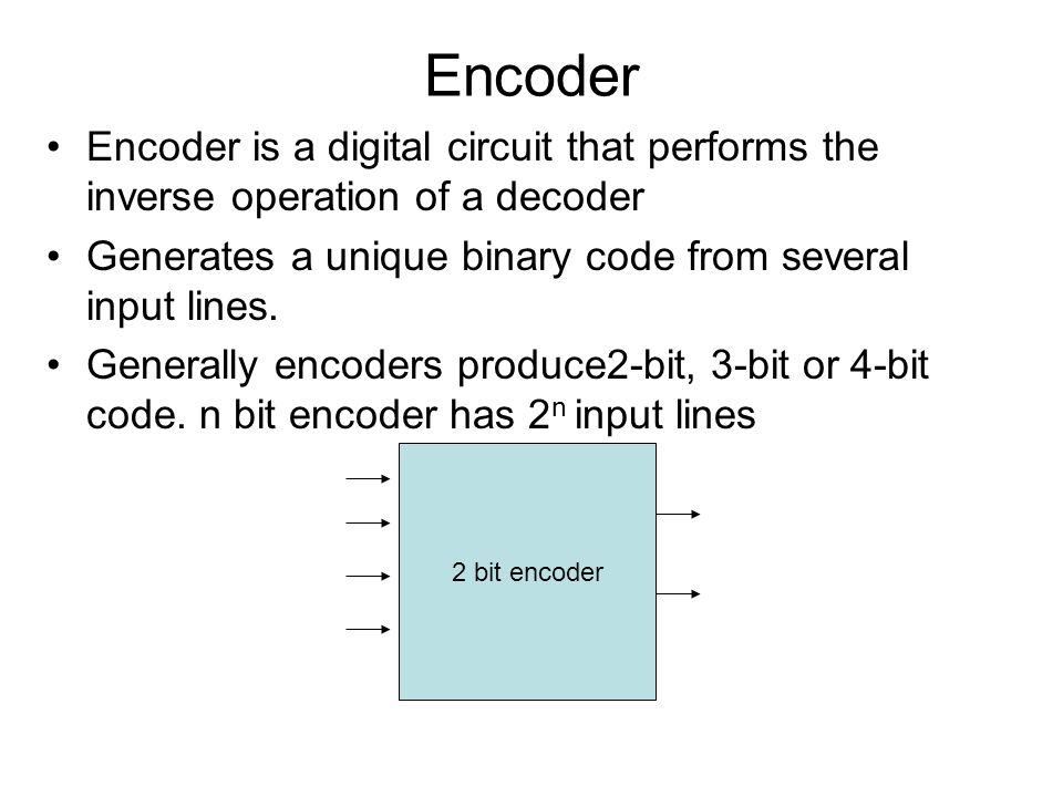 Encoder Encoder is a digital circuit that performs the inverse operation of a decoder. Generates a unique binary code from several input lines.