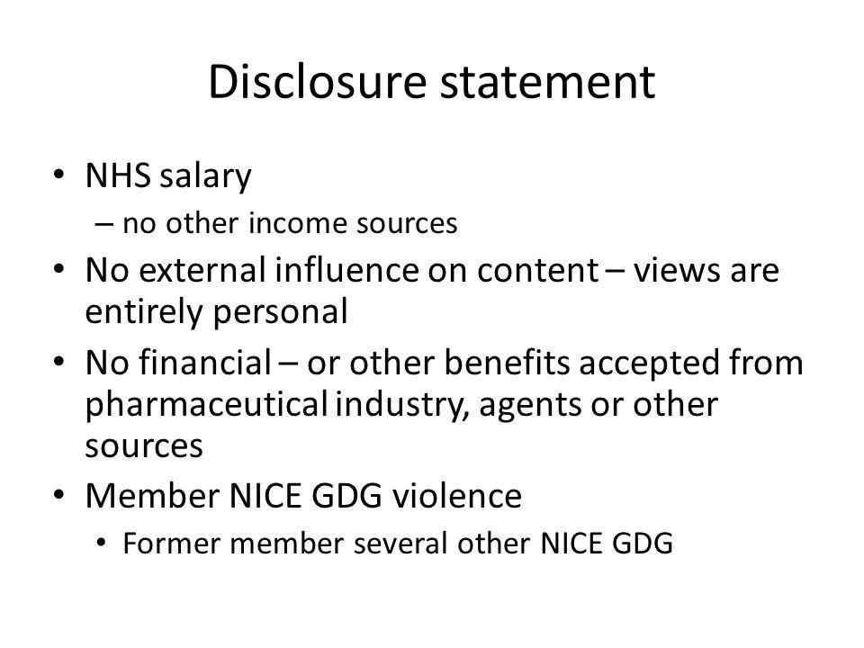 Disclosure statement NHS salary