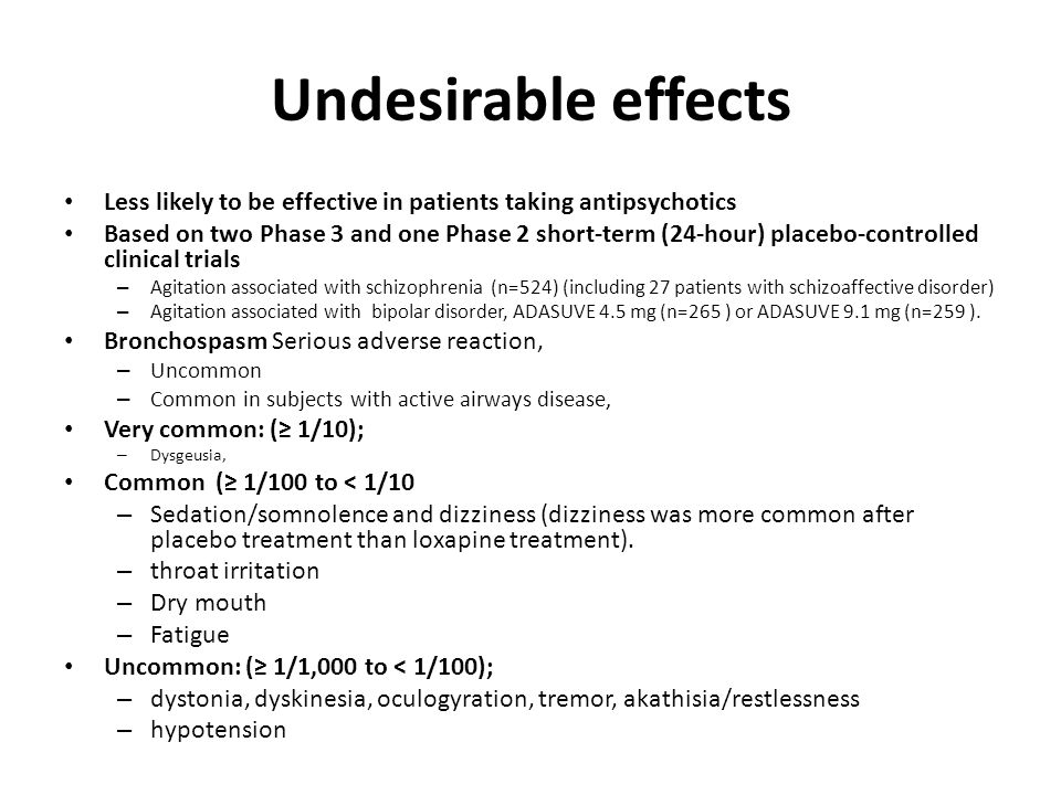 Undesirable effects Less likely to be effective in patients taking antipsychotics.