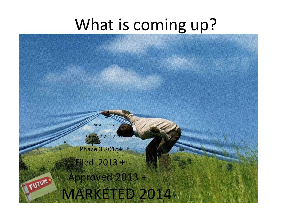 What is coming up MARKETED 2014 Approved 2013 + Filed 2013 +