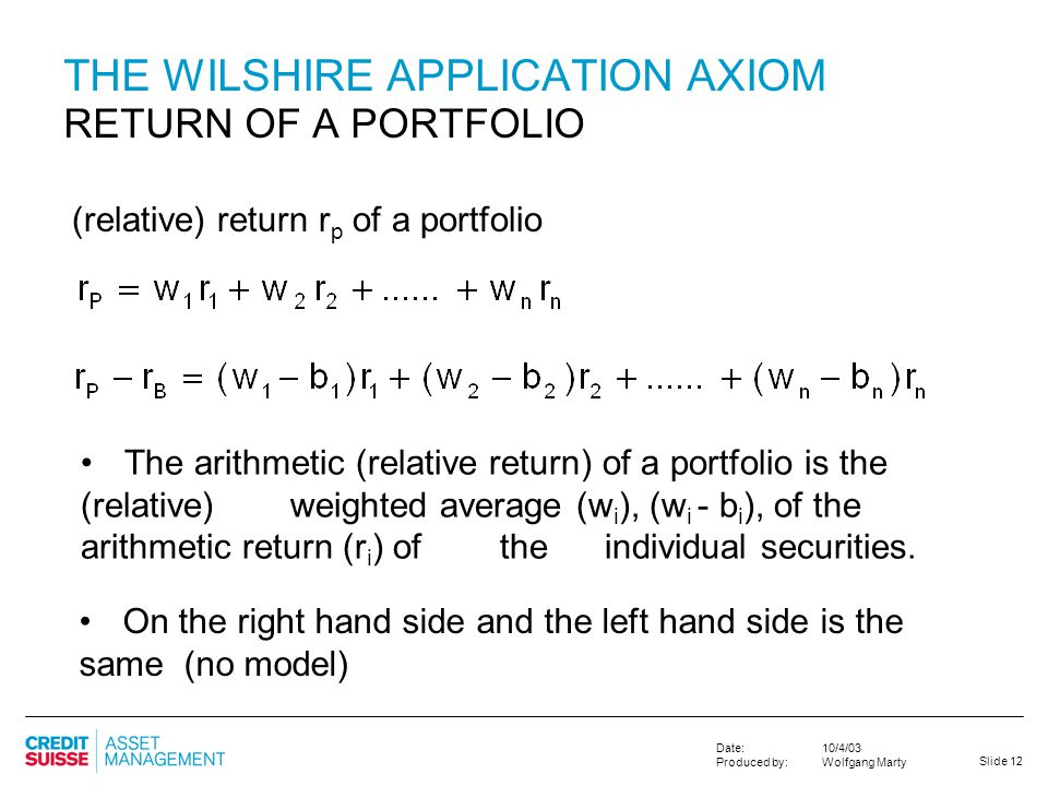 THE WILSHIRE APPLICATION AXIOM RETURN OF A PORTFOLIO