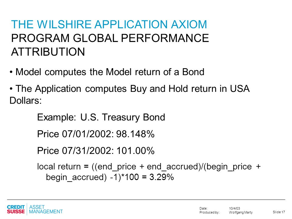 THE WILSHIRE APPLICATION AXIOM PROGRAM GLOBAL PERFORMANCE ATTRIBUTION